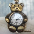 Pretty Retro Copper Bear Pocket Watch Necklace Pendant Vintage Style
