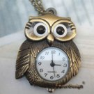 Pretty Retro Copper Owl Pocket Watch Necklace Pendant Vintage Style