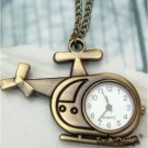 Retro Copper Helicopter Pocket Watch Necklace Pendant Vintage Style