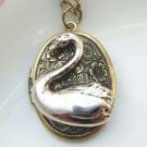Steampunk Original Design Swan Locket Vinatge Style Necklace