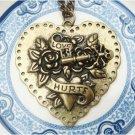 Steampunk Original Design Heart Skull Key Brass Necklace