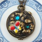 Steampunk Original Design Porcelain Butterfly Locket Brass Necklace