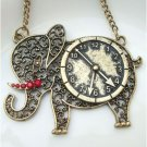 Steampunk Original Design Elephant Clock Brass Necklace