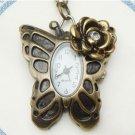 Steampunk Original Design Flower Butterfly Pocket Watch Necklace