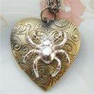Steampunk Spider Heart Locket Pendant Necklace