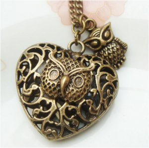 Steampunk Original Design Owl Heart Brass Necklace