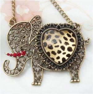 Steampunk Original Design Elephant with leopard skin Brass Necklace