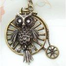 Steampunk Original Design Owl with Old Bike Brass Necklace