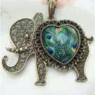 Steampunk Original Design Elephant peacock leather Brass Necklace