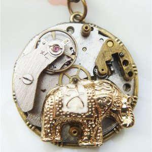 Steampunk Elephant Watch Movement Pendant Necklace