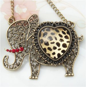 Steampunk Original Design Elephant with leopard skin Brass Necklace