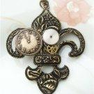 Steampunk Original Design Fleur De Lis Mechanical Wheel Brass Necklace