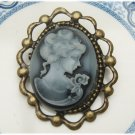 Antique Brass Beauty Cameo Pin Brooch