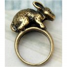 Size 6.3 Antique Brass Rabbit Ring Vintage Style