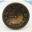 Adjustable Size Antique Brass Clock Ring Vintage Style