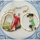 Antique Brass Man and Woman Earrings Vintage Style