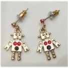 Silver Plated Brass Robot Ear Stud Vintage Style