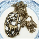 Antiqued Brass Deer Necklace Pendant Vintage Style