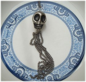 Silver Plated Brass Skull Necklace Pendant Vintage Style