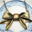 Large Antique Brass Bow-tie Necklace Pendant Vintage Style