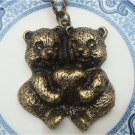 Antique Brass Bear Necklace Pendant Vintage Style