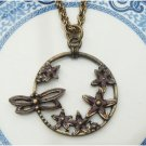 Antique Brass Butterfly Flower Necklace Pendant Vintage Style