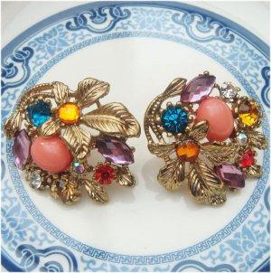 Antique Brass Flower Ear Stud