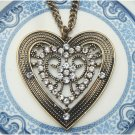 Antique Brass Heart Necklace Pendant Vintage Style