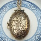 Antique Brass Locket Necklace Pendant Vintage Style
