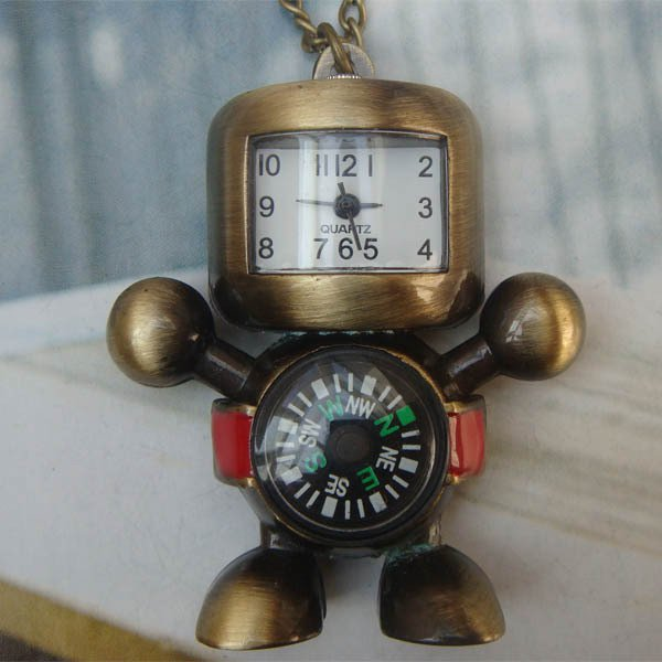 Retro Copper Robot WITH Compass Pocket Watch Necklace VINTAGE Style