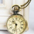 Antiqued Brass Vintage Style Classic Roman Numeral  Pocket Watch  Necklace