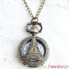 Antiqued Brass Vintage Style Classic Eiffel Tower Hollowed Out Pattern Pocket Watch Necklace