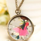 Antiqued Brass Vintage Style  Classic The Rabbit Circular Pocket Watch Necklace