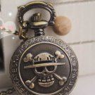 Antiqued Brass Vintage Style Pirate Skull Pocket Watch Necklace