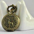 Antiqued Brass Vintage Style Deer Pocket Watch Necklace