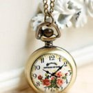 Antiqued Brass Vintage Style The Flower Clock   Pocket Watch Necklace