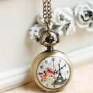 Antiqued Brass Vintage Style Flowers Eiffel Tower Clock  Pocket Watch Necklace