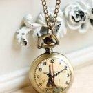 Antiqued Brass Vintage Style Eiffel Tower Clock  Pocket Watch Necklace