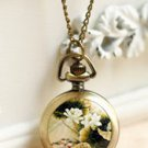 Antiqued Brass Vintage Style Fresh Tea Flower And Bird Painting  Pocket Watch Necklace