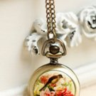 Antiqued Brass Vintage Style Flower Peony Bird Pictures Pocket Watch Necklace