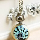 Antiqued Brass Vintage Style  Classic  Necklace  Pavo Cristatus Pocket Watch Necklace