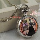 Silver Vintage Style Gentlewoman Pocket Watch Necklace