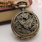 Antiqued Brass Vintage Style  Classic  Necklace Butterfly Flower Pocket Watch Necklace