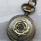 Antiqued Brass Vintage Style  Classic  Necklace  Carve Flos Rosae Rugosae Pocket Watch Necklace