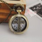 Antiqued Brass Vintage Style  Cross  Pocket Watch Necklace