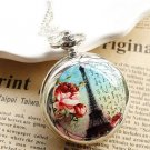 Silver  Vintage Style Eiffel Tower Flowers Painting Pocket Watch Necklace