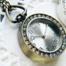 Antiqued Brass Vintage Style The Sun Pattern Diamond  Pocket Watch Necklace