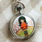 Silver Vintage Style Autumn Girl Enamel Pocket Watch Necklace