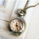 Antiqued Brass Vintage Style  Brown Magnifier   Pocket Watch Necklace