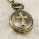 Antiqued Brass Vintage Style  Relief Cross  Pocket Watch Necklace